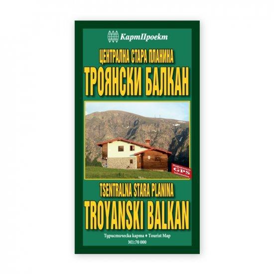 Карта на Централна Стара планина - Троянски Балкан