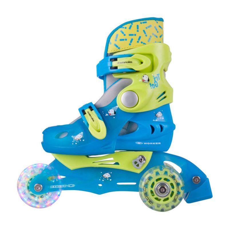 Ролери WORKER TriGo Skate LED със светещи колела, Син