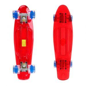 Пени борд Maronad Retro Transparent със светещи колела 22 Червен